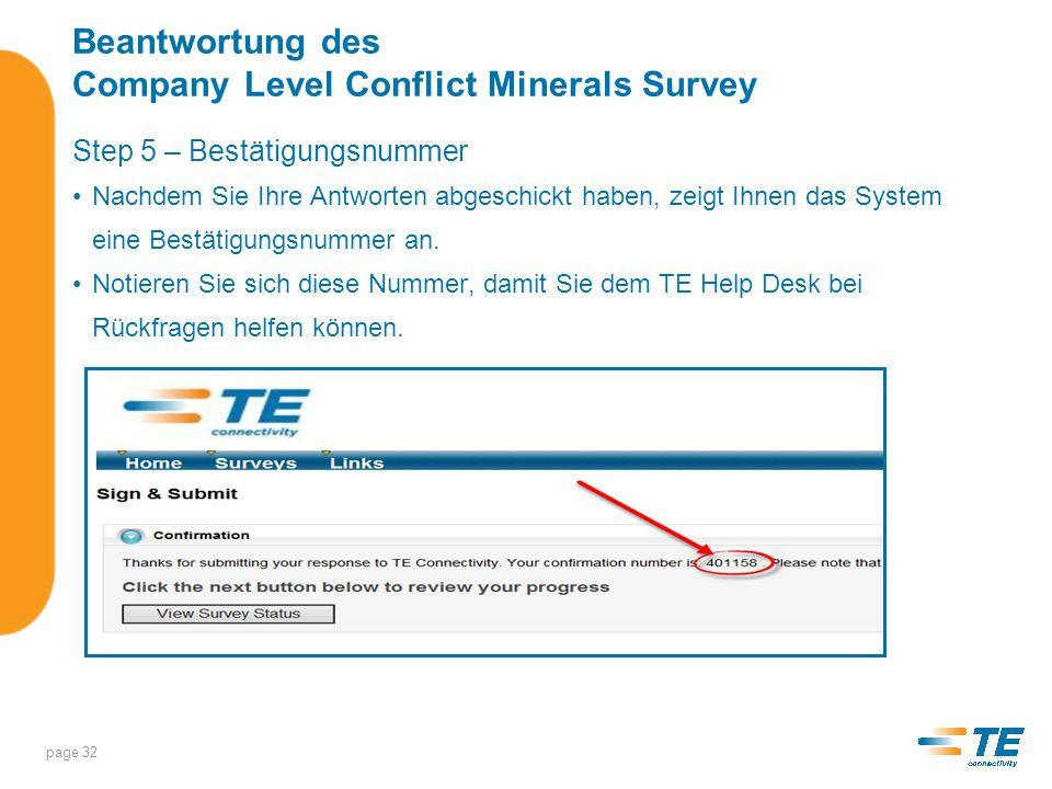 Beantwortung des Company Level Conflict Minerals Survey Schritt 6 – Fragen Status – Überblick über die beantworteten Fragen page 33