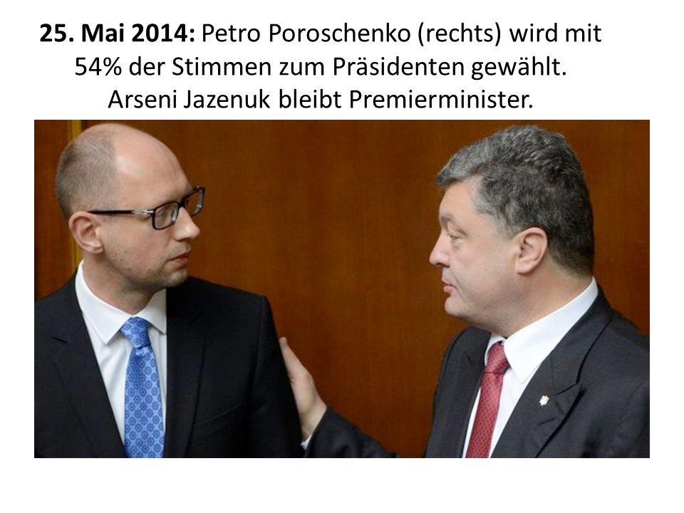 25.Mai 2014: Petro Poroschenko (rechts) wird mit 54% der Stimmen zum Präsidenten gewählt.