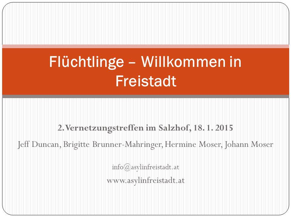 2. Vernetzungstreffen im Salzhof, 18. 1. 2015 Jeff Duncan, Brigitte Brunner-Mahringer, Hermine Moser, Johann Moser info@asylinfreistadt.at www.asylinf