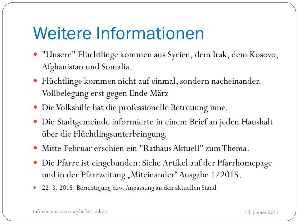Weitere Informationen 18. Jänner 2015 Information www.asylinfreistadt.at