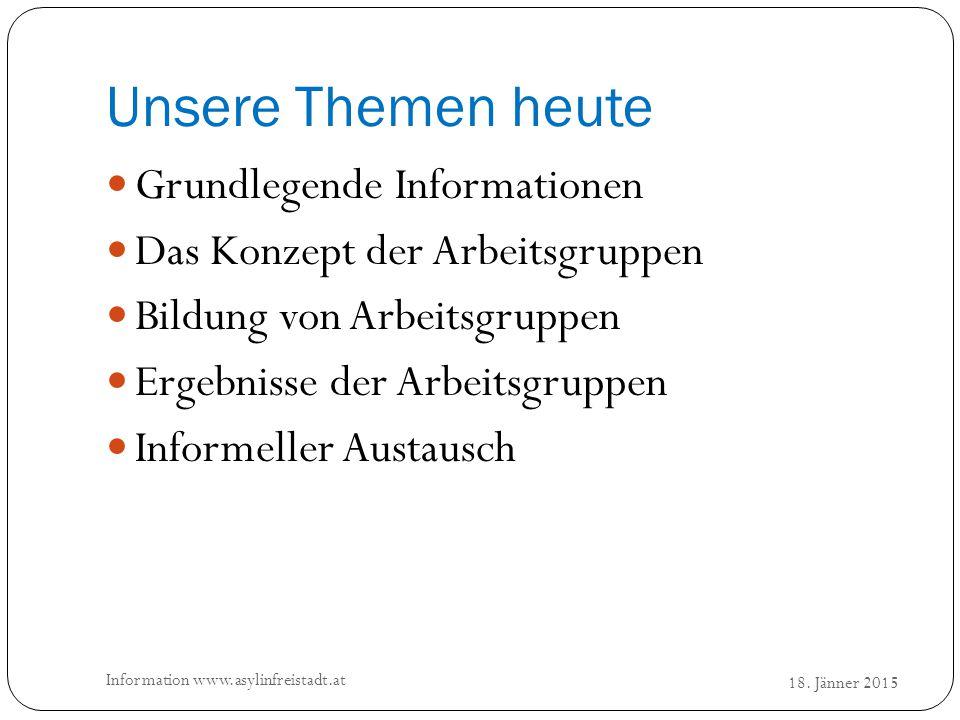 Unsere Themen heute 18. Jänner 2015 Information www.asylinfreistadt.at Grundlegende Informationen Das Konzept der Arbeitsgruppen Bildung von Arbeitsgr
