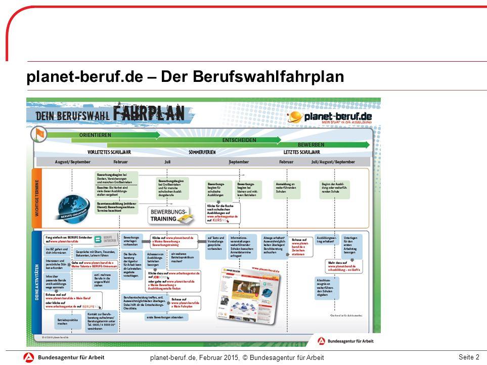 Seite 2 planet-beruf.de, Februar 2015, © Bundesagentur für Arbeit planet-beruf.de – Der Berufswahlfahrplan