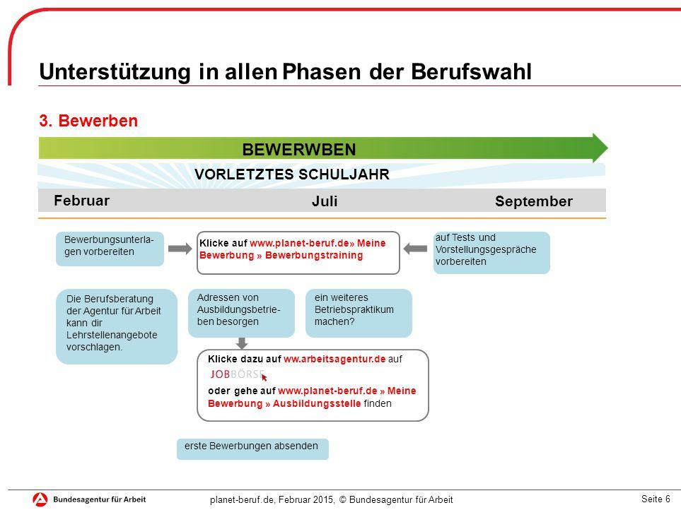 Seite 6 planet-beruf.de, Februar 2015, © Bundesagentur für Arbeit Unterstützung in allen Phasen der Berufswahl 3.