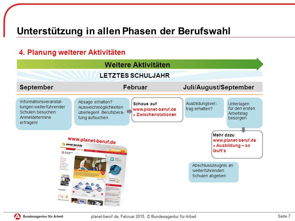 Seite 7 planet-beruf.de, Februar 2015, © Bundesagentur für Arbeit Unterstützung in allen Phasen der Berufswahl 4.