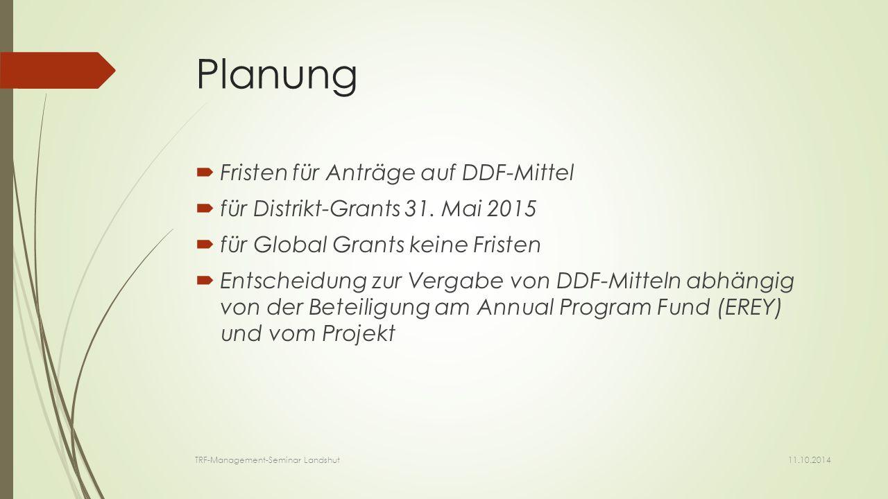 Planung  Fristen für Anträge auf DDF-Mittel  für Distrikt-Grants 31.