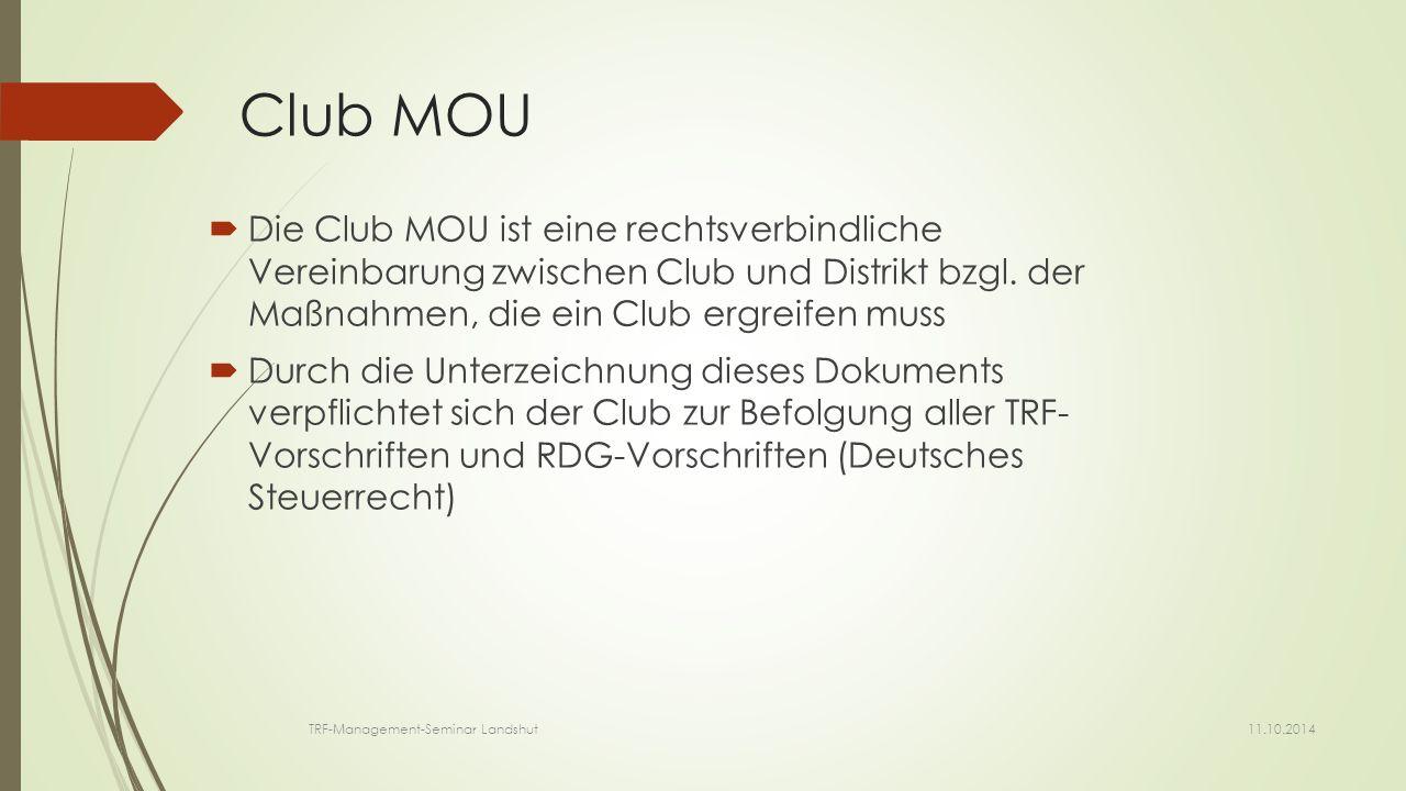 Club MOU  Die Club MOU ist eine rechtsverbindliche Vereinbarung zwischen Club und Distrikt bzgl.
