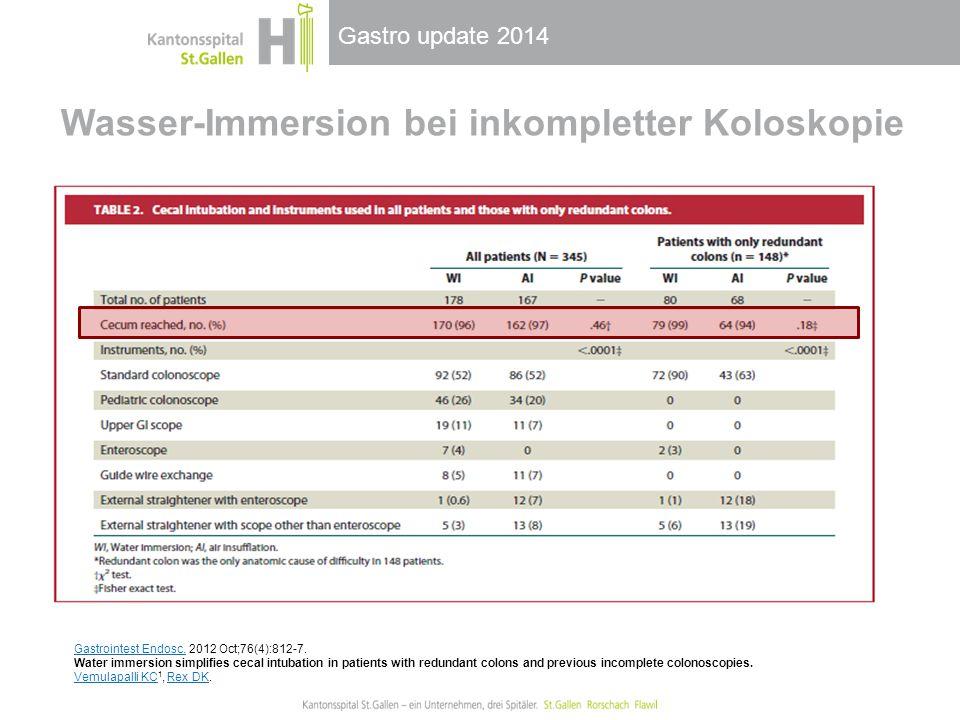 Gastro update 2014 Wasser-Immersion bei inkompletter Koloskopie Gastrointest Endosc.Gastrointest Endosc. 2012 Oct;76(4):812-7. Water immersion simplif