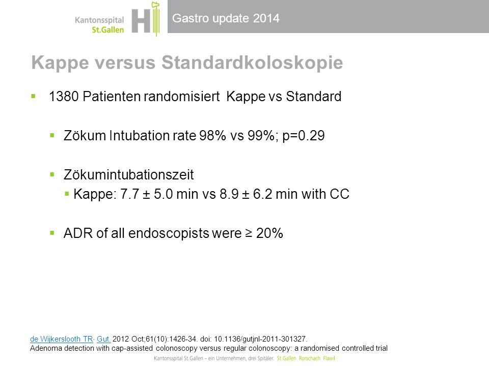 Gastro update 2014 Kappe versus Standardkoloskopie  1380 Patienten randomisiert Kappe vs Standard  Zökum Intubation rate 98% vs 99%; p=0.29  Zökumi