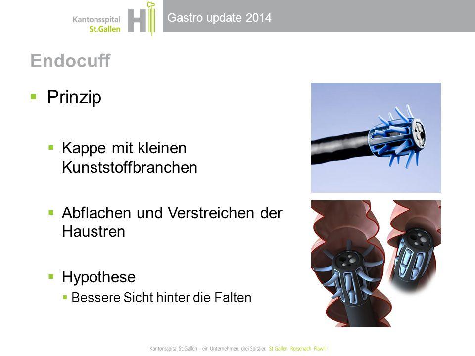 Gastro update 2014 Endocuff  Prinzip  Kappe mit kleinen Kunststoffbranchen  Abflachen und Verstreichen der Haustren  Hypothese  Bessere Sicht hin
