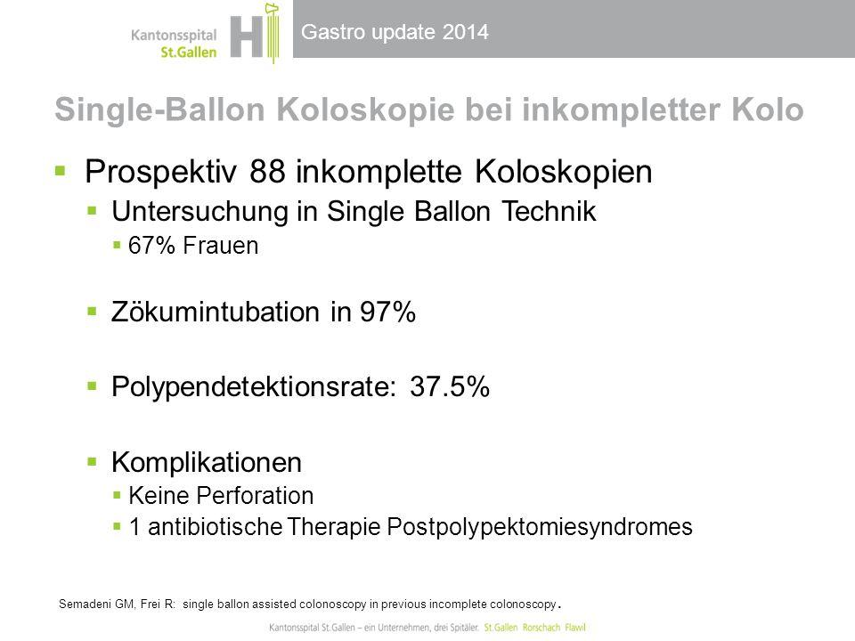 Gastro update 2014 Single-Ballon Koloskopie bei inkompletter Kolo  Prospektiv 88 inkomplette Koloskopien  Untersuchung in Single Ballon Technik  67