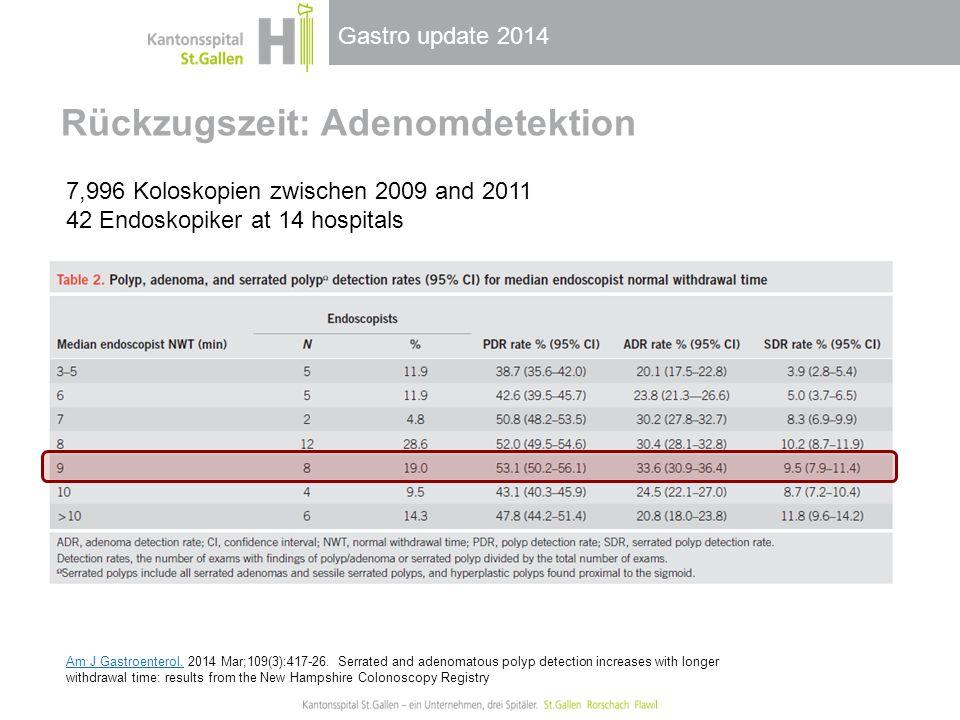 Gastro update 2014 Rückzugszeit: Adenomdetektion 7,996 Koloskopien zwischen 2009 and 2011 42 Endoskopiker at 14 hospitals Am J Gastroenterol.Am J Gast