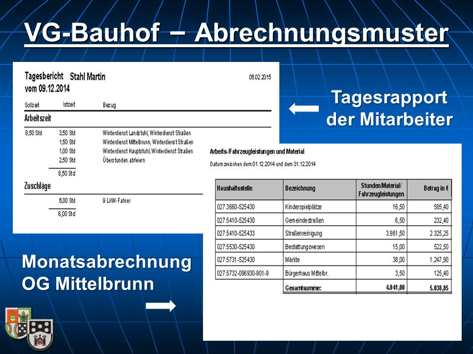 VG-Bauhof – Abrechnungsmuster Tagesrapport der Mitarbeiter Monatsabrechnung OG Mittelbrunn