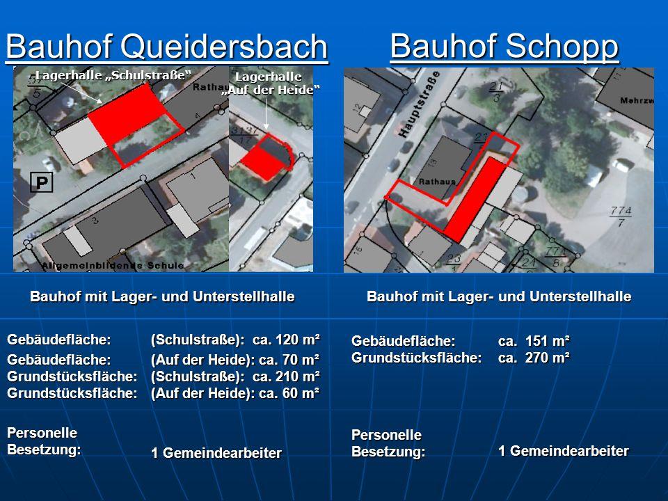 """Bauhof Queidersbach Bauhof Queidersbach Bauhof Schopp Bauhof Schopp Lagerhalle """"Schulstraße"""" Lagerhalle """"Auf der Heide"""" """"Auf der Heide"""" Bauhof mit Lag"""