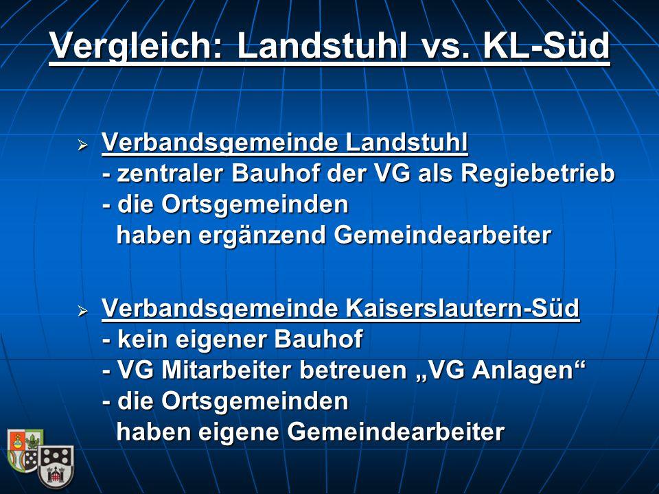  Verbandsgemeinde Landstuhl - zentraler Bauhof der VG als Regiebetrieb - die Ortsgemeinden haben ergänzend Gemeindearbeiter Vergleich: Landstuhl vs.
