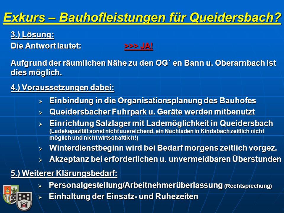 Exkurs – Bauhofleistungen für Queidersbach?  Einbindung in die Organisationsplanung des Bauhofes  Queidersbacher Fuhrpark u. Geräte werden mitbenutz