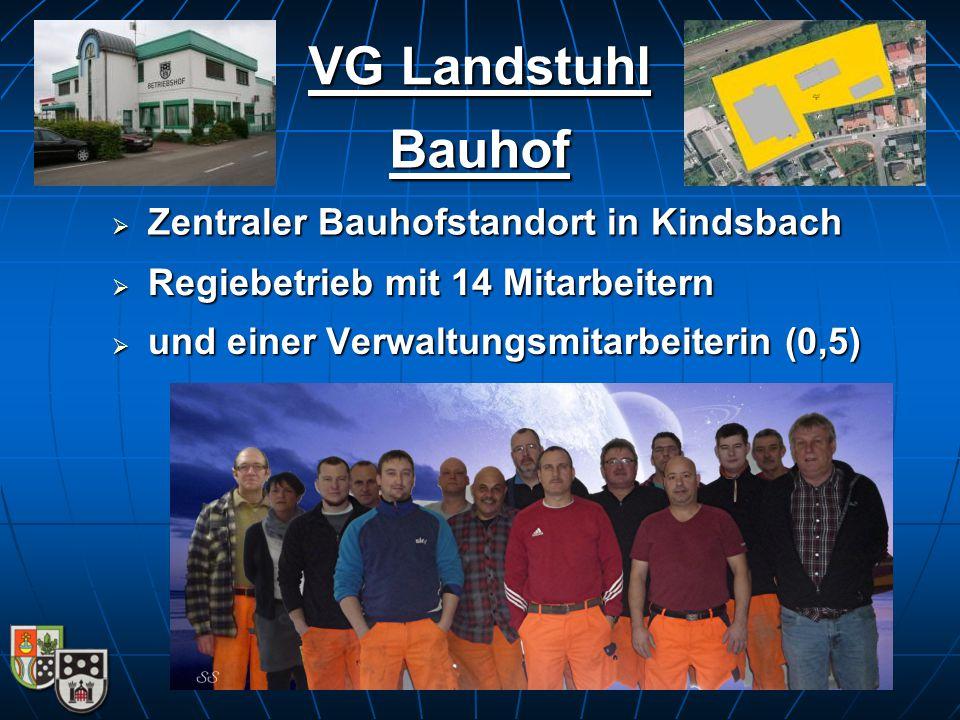  Zentraler Bauhofstandort in Kindsbach VG Landstuhl  Regiebetrieb mit 14 Mitarbeitern  und einer Verwaltungsmitarbeiterin (0,5) Bauhof