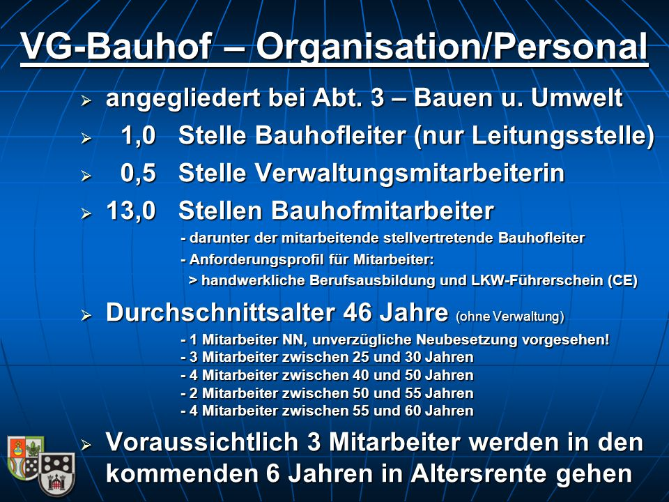 VG-Bauhof – Organisation/Personal  angegliedert bei Abt. 3 – Bauen u. Umwelt  1,0 Stelle Bauhofleiter (nur Leitungsstelle)  0,5 Stelle Verwaltungsm