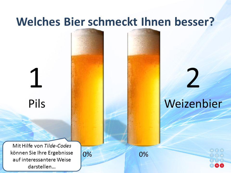 0% Mit Hilfe von Tilde-Codes können Sie Ihre Ergebnisse auf interessantere Weise darstellen… 1 Pils 2 Weizenbier Welches Bier schmeckt Ihnen besser?