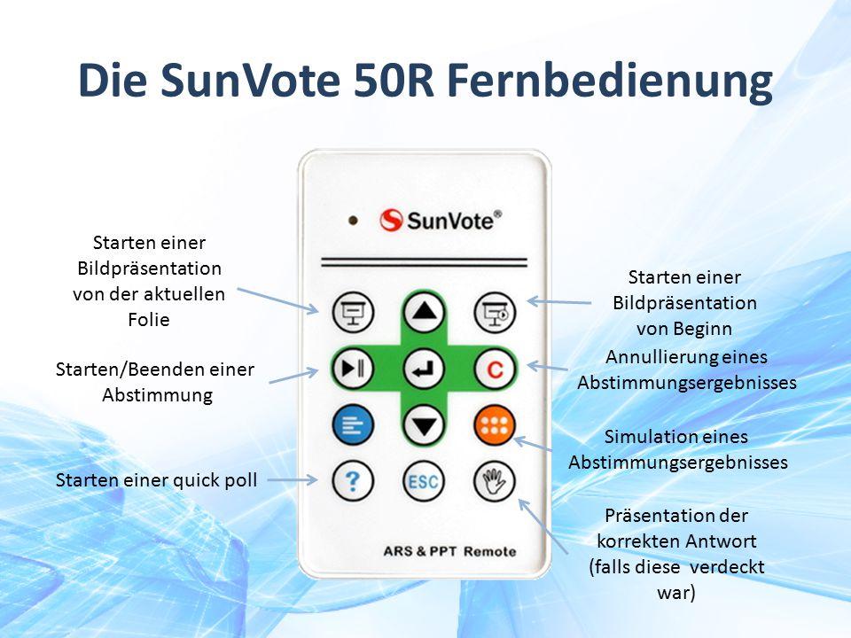 Die SunVote 50R Fernbedienung Starten einer Bildpräsentation von Beginn Starten einer Bildpräsentation von der aktuellen Folie Starten/Beenden einer A
