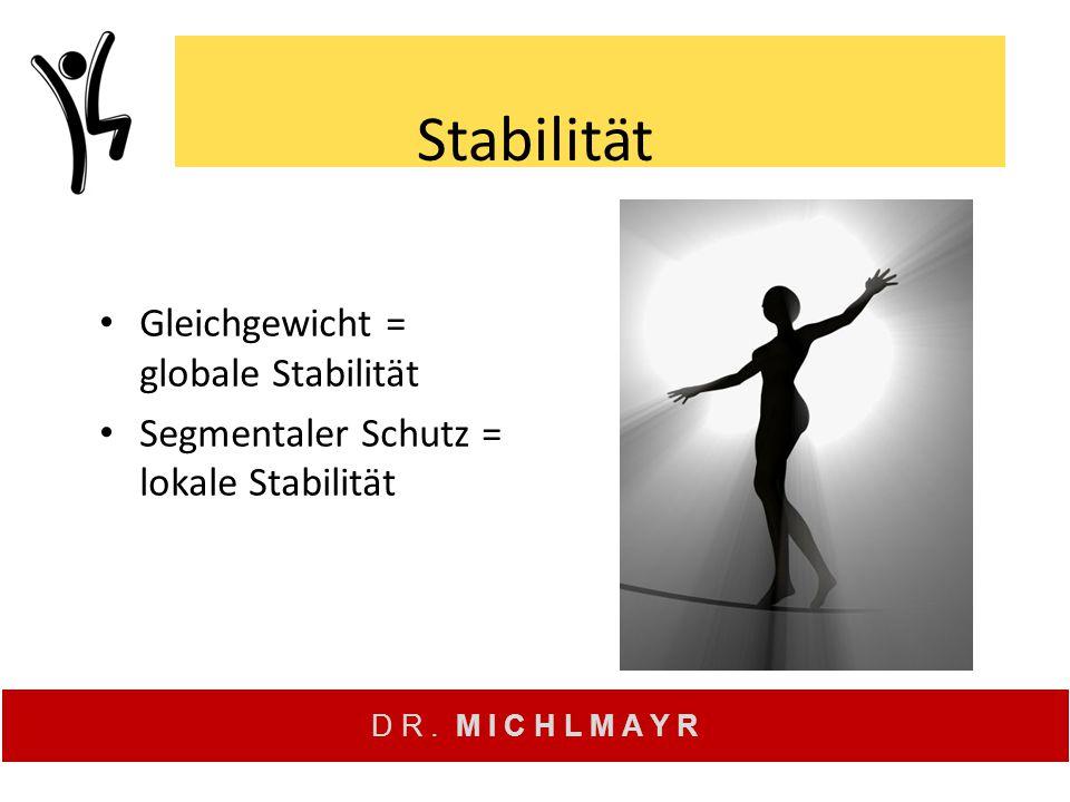 D R. M I C H L M A Y R Stabilität Gleichgewicht = globale Stabilität Segmentaler Schutz = lokale Stabilität