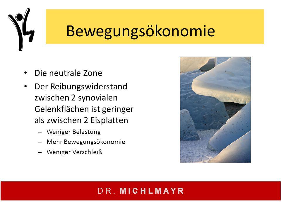 Bewegungsökonomie Die neutrale Zone Der Reibungswiderstand zwischen 2 synovialen Gelenkflächen ist geringer als zwischen 2 Eisplatten – Weniger Belast