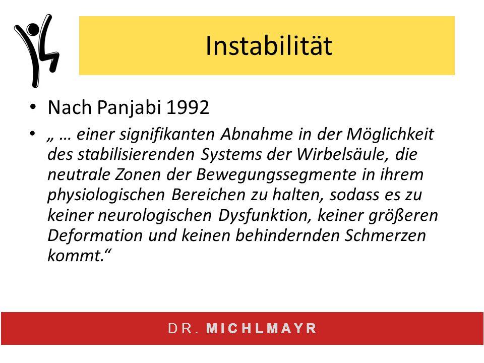 """D R. M I C H L M A Y R Instabilität Nach Panjabi 1992 """" … einer signifikanten Abnahme in der Möglichkeit des stabilisierenden Systems der Wirbelsäule,"""