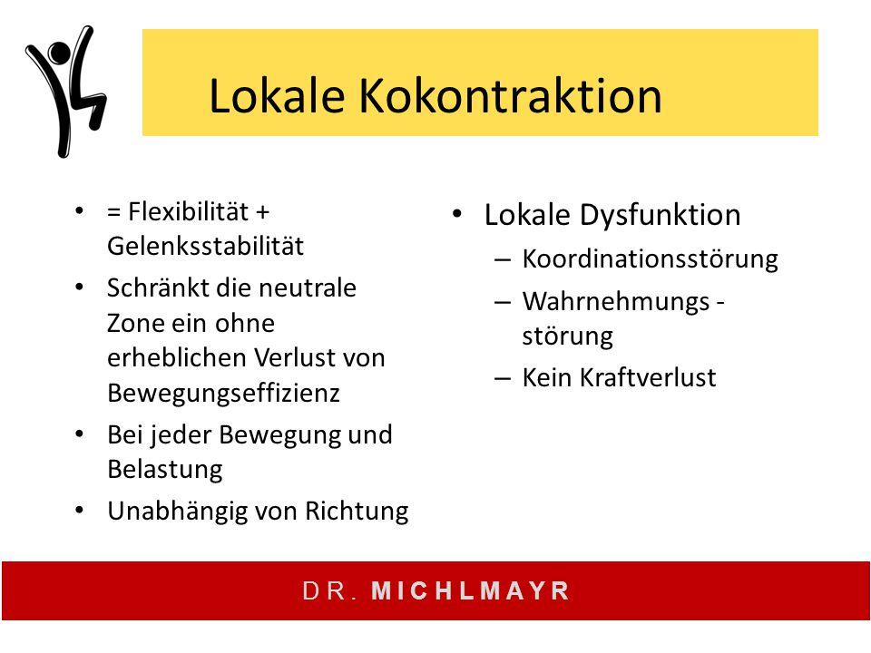 D R. M I C H L M A Y R Lokale Kokontraktion = Flexibilität + Gelenksstabilität Schränkt die neutrale Zone ein ohne erheblichen Verlust von Bewegungsef