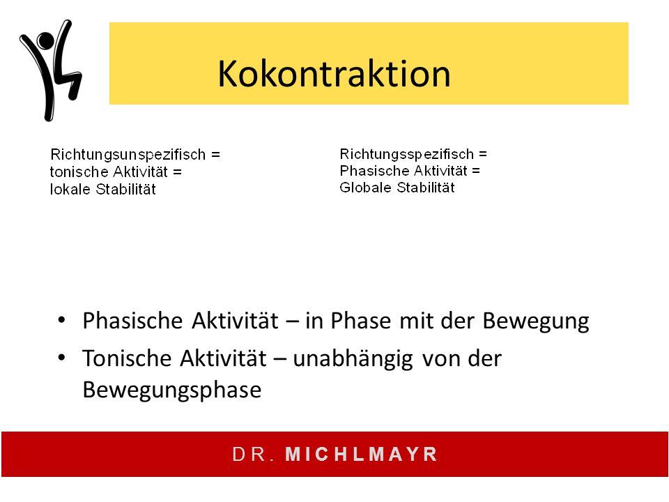 D R. M I C H L M A Y R Kokontraktion Phasische Aktivität – in Phase mit der Bewegung Tonische Aktivität – unabhängig von der Bewegungsphase