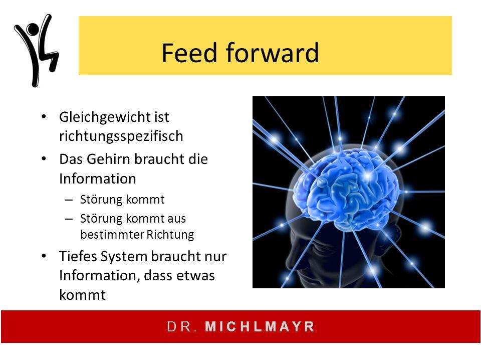 D R. M I C H L M A Y R Feed forward Gleichgewicht ist richtungsspezifisch Das Gehirn braucht die Information – Störung kommt – Störung kommt aus besti