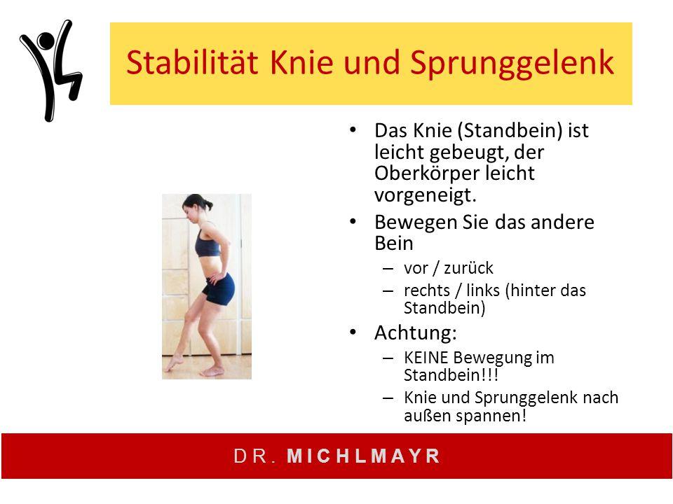 D R. M I C H L M A Y R Stabilität Knie und Sprunggelenk Das Knie (Standbein) ist leicht gebeugt, der Oberkörper leicht vorgeneigt. Bewegen Sie das and