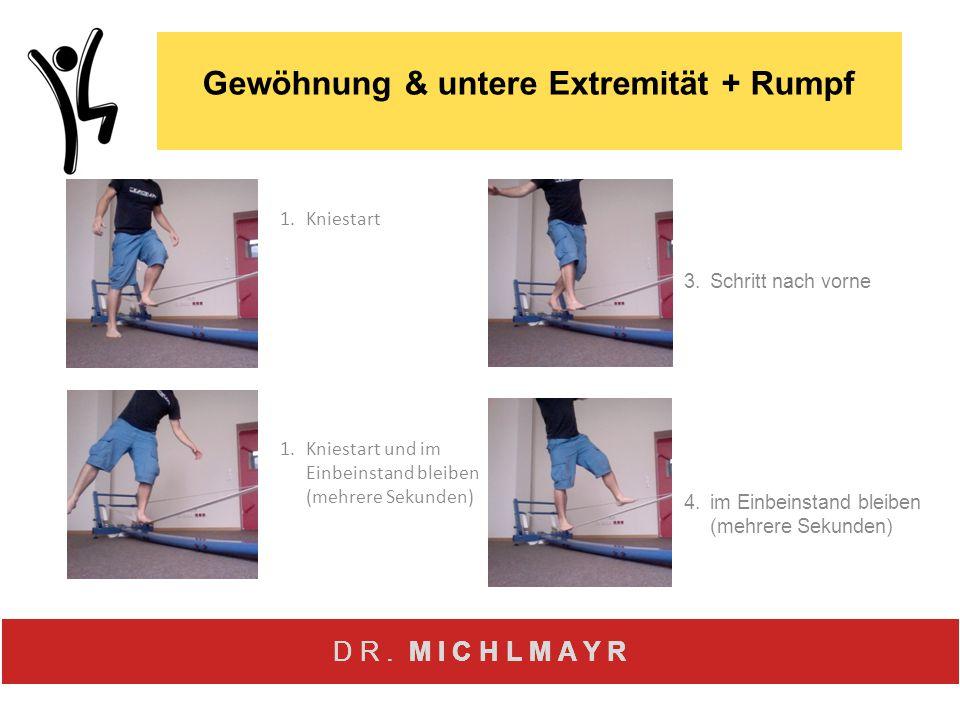 D R. M I C H L M A Y R 1.Kniestart 1.Kniestart und im Einbeinstand bleiben (mehrere Sekunden) Gewöhnung & untere Extremität + Rumpf 3.Schritt nach vor