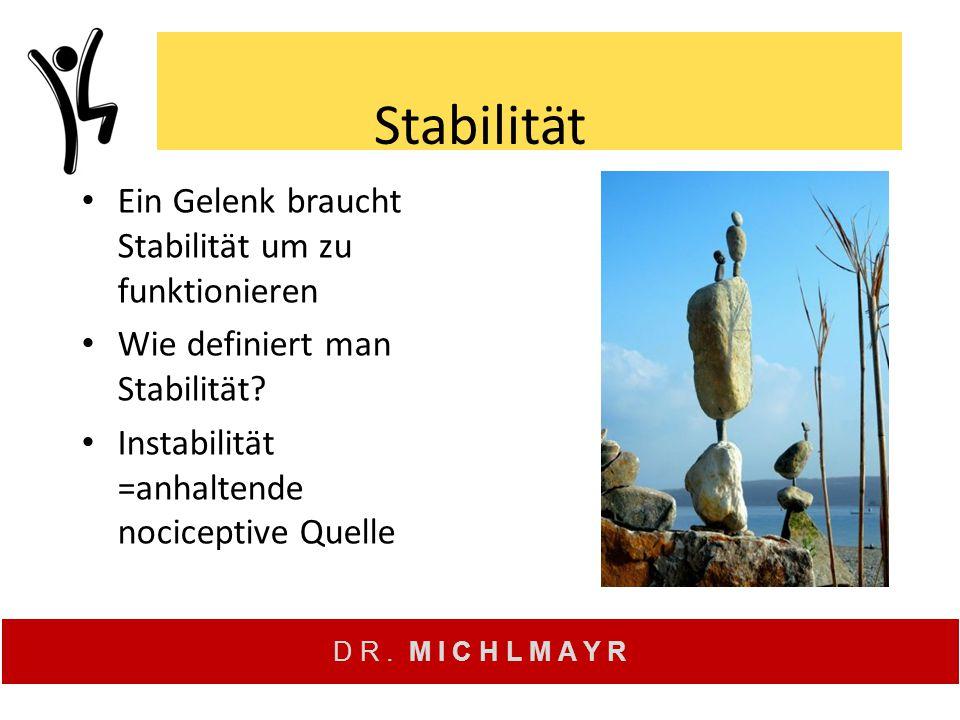 D R. M I C H L M A Y R Stabilität Ein Gelenk braucht Stabilität um zu funktionieren Wie definiert man Stabilität? Instabilität =anhaltende nociceptive
