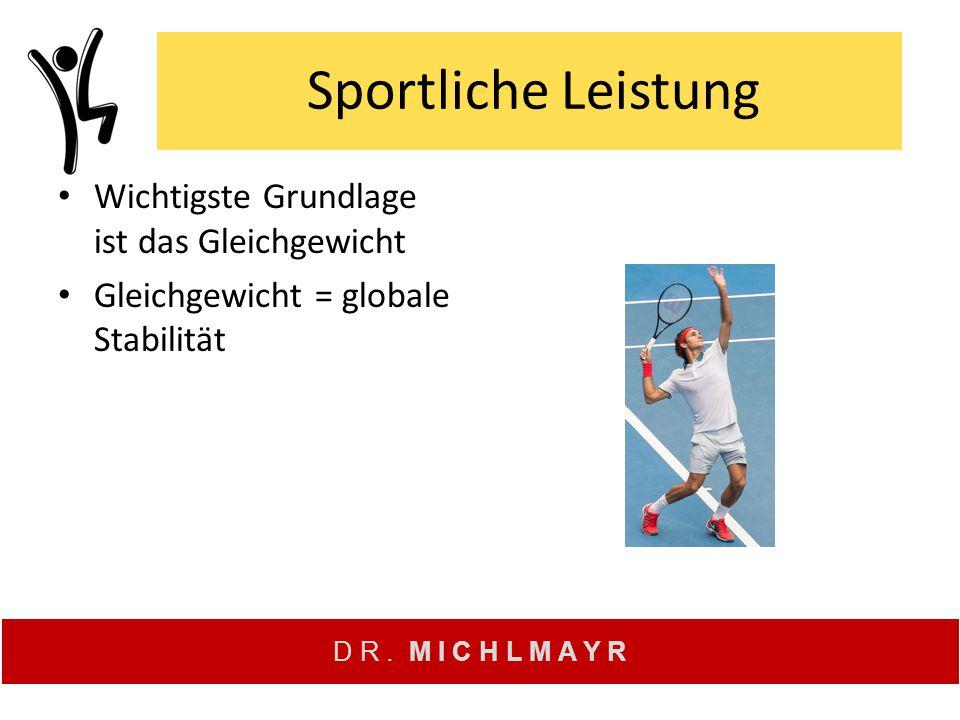 D R. M I C H L M A Y R Sportliche Leistung Wichtigste Grundlage ist das Gleichgewicht Gleichgewicht = globale Stabilität