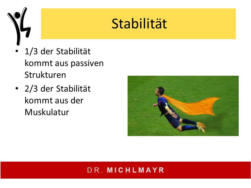 D R. M I C H L M A Y R Stabilität 1/3 der Stabilität kommt aus passiven Strukturen 2/3 der Stabilität kommt aus der Muskulatur