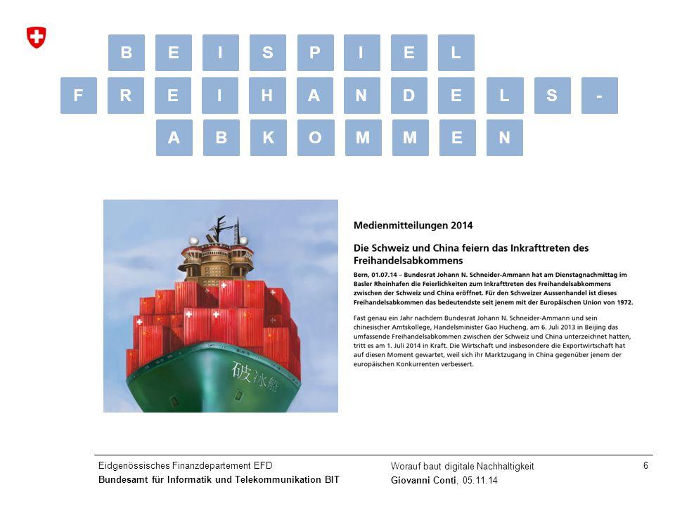 Eidgenössisches Finanzdepartement EFD Bundesamt für Informatik und Telekommunikation BIT Worauf baut digitale Nachhaltigkeit Giovanni Conti, 05.11.14 6 LS-FREIHANDE ABKOMMEN BEISPELI