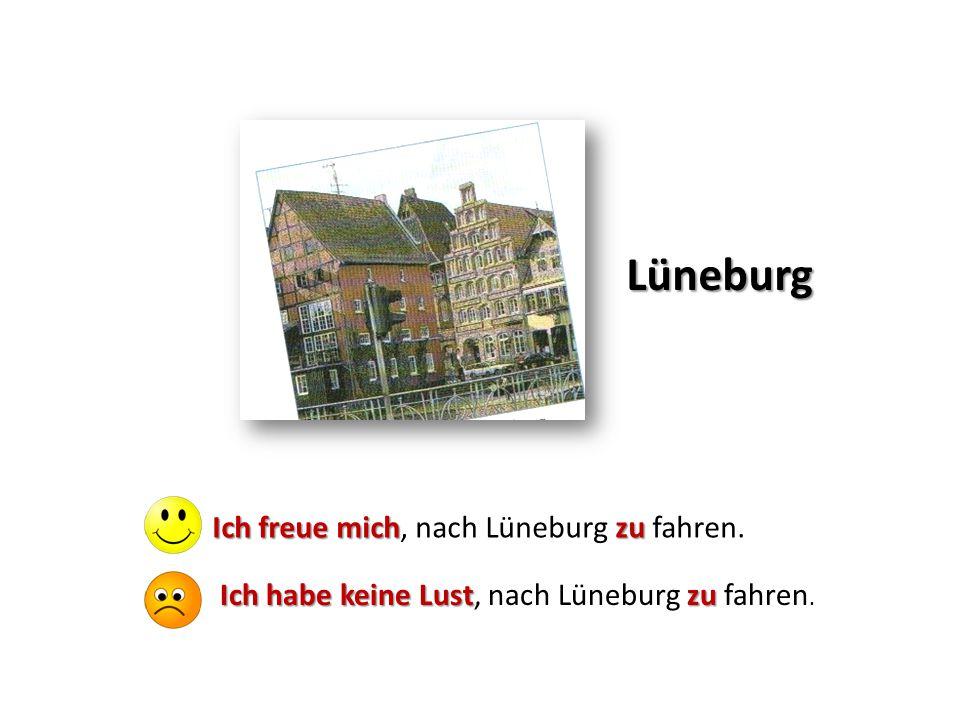 Lüneburg Ich freue michzu Ich freue mich, nach Lüneburg zu fahren. Ich habe keine Lustzu Ich habe keine Lust, nach Lüneburg zu fahren.