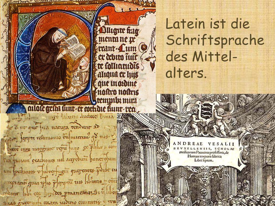 Latein ist die Schriftsprache des Mittel- alters.