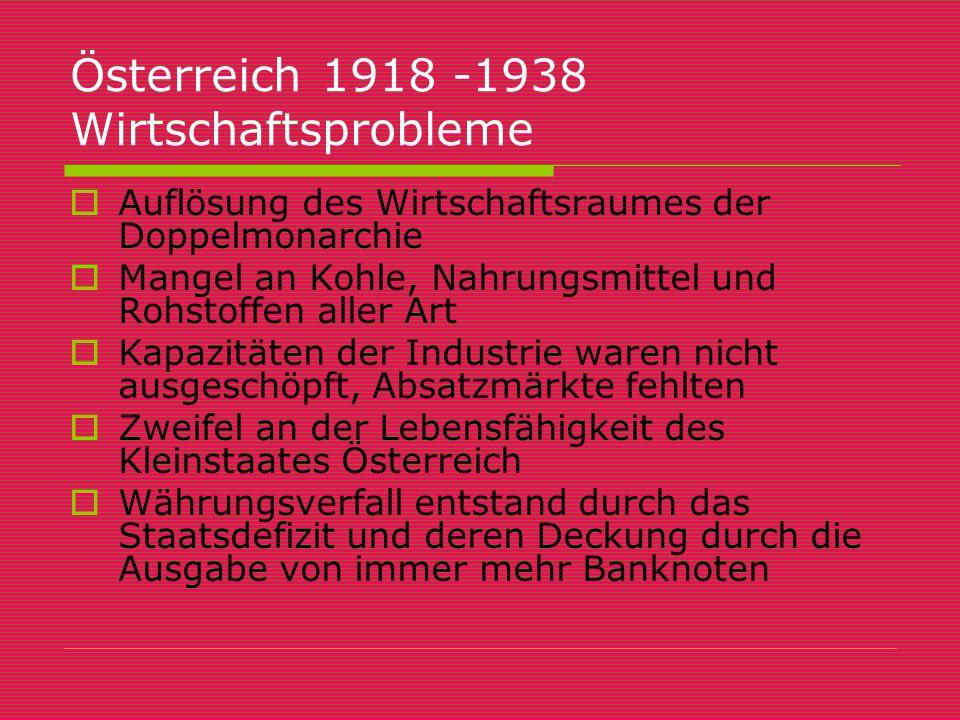 Österreich 1918 -1938 Wirtschaftsprobleme  Auflösung des Wirtschaftsraumes der Doppelmonarchie  Mangel an Kohle, Nahrungsmittel und Rohstoffen aller