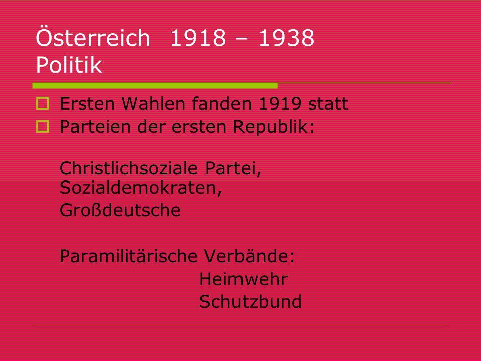 Österreich 1918 – 1938 Politik  Ersten Wahlen fanden 1919 statt  Parteien der ersten Republik: Christlichsoziale Partei, Sozialdemokraten, Großdeuts