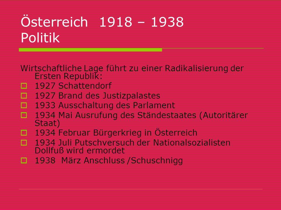 Österreich 1918 – 1938 Politik Wirtschaftliche Lage führt zu einer Radikalisierung der Ersten Republik:  1927 Schattendorf  1927 Brand des Justizpal