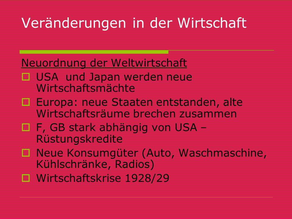 Veränderungen in der Wirtschaft Neuordnung der Weltwirtschaft UUSA und Japan werden neue Wirtschaftsmächte EEuropa: neue Staaten entstanden, alte