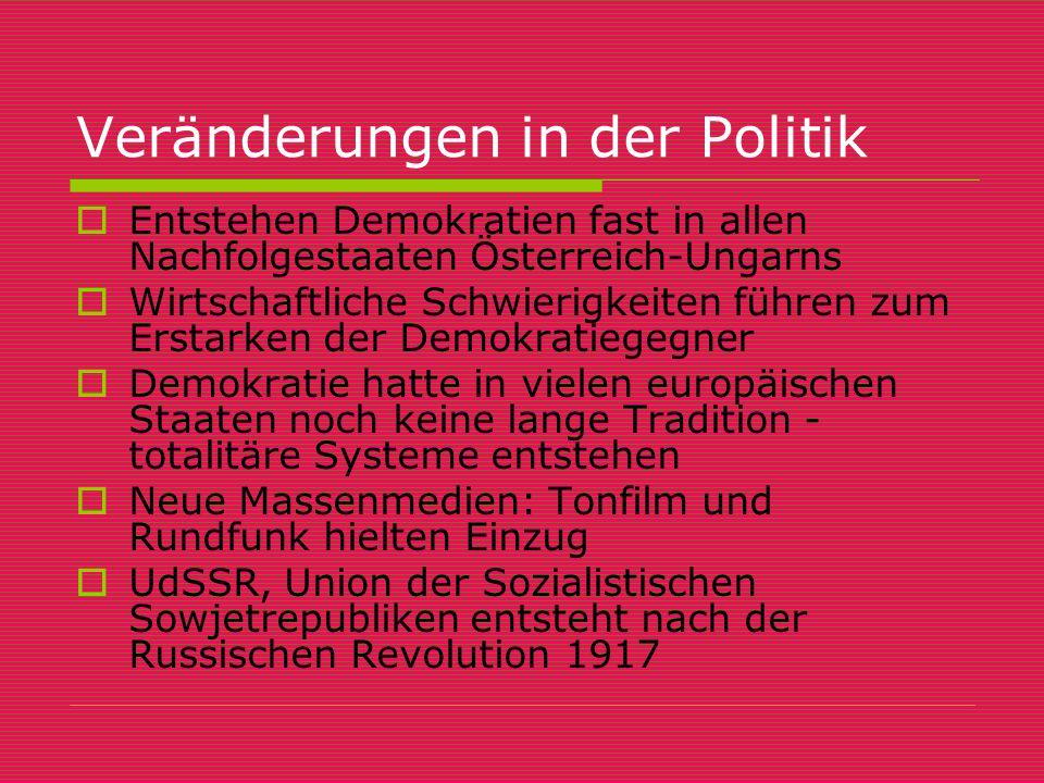 Veränderungen in der Politik  Entstehen Demokratien fast in allen Nachfolgestaaten Österreich-Ungarns  Wirtschaftliche Schwierigkeiten führen zum Er