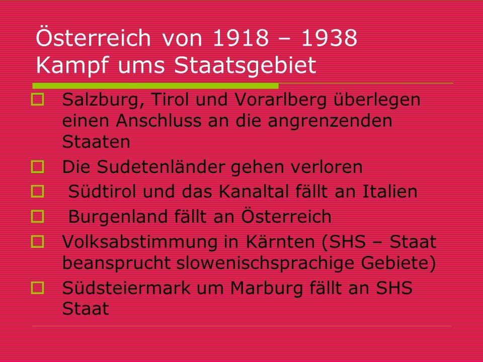 Österreich von 1918 – 1938 Kampf ums Staatsgebiet  Salzburg, Tirol und Vorarlberg überlegen einen Anschluss an die angrenzenden Staaten  Die Sudeten
