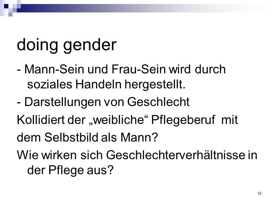 """12 doing gender - Mann-Sein und Frau-Sein wird durch soziales Handeln hergestellt. - Darstellungen von Geschlecht Kollidiert der """"weibliche"""" Pflegeber"""