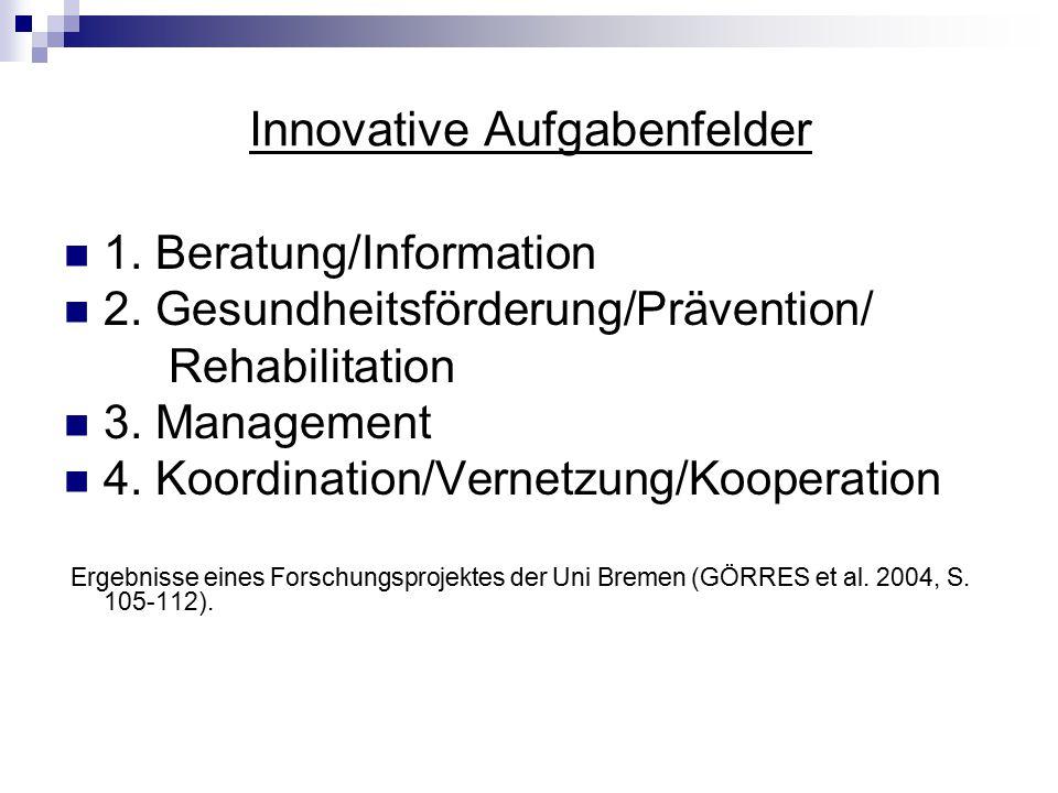 Innovative Aufgabenfelder 1. Beratung/Information 2. Gesundheitsförderung/Prävention/ Rehabilitation 3. Management 4. Koordination/Vernetzung/Kooperat
