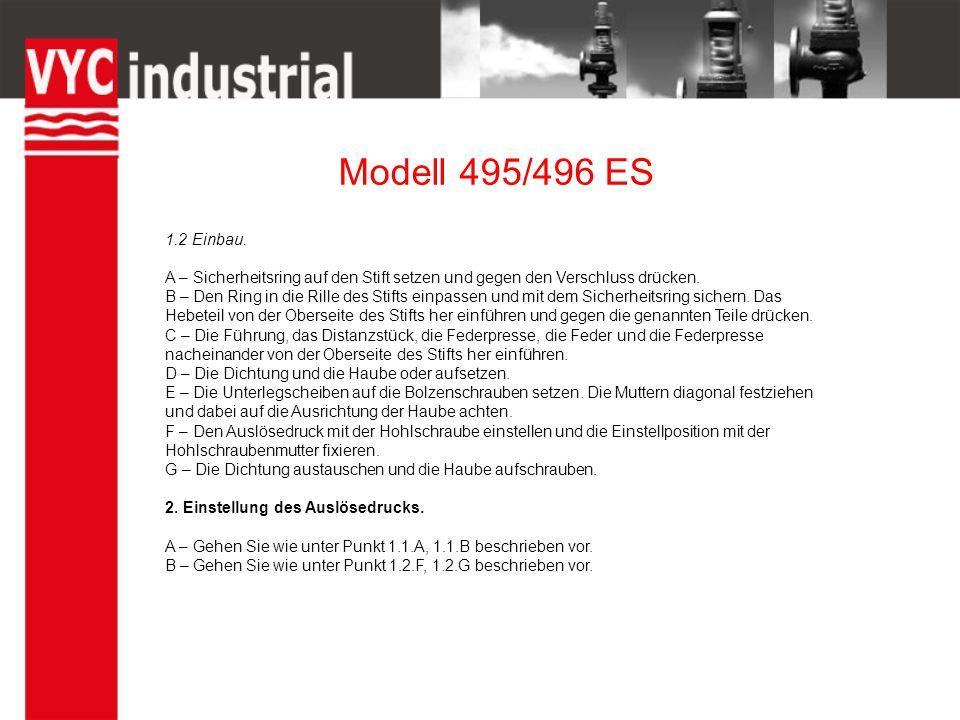 Modell 495/496 ES 1.2 Einbau.