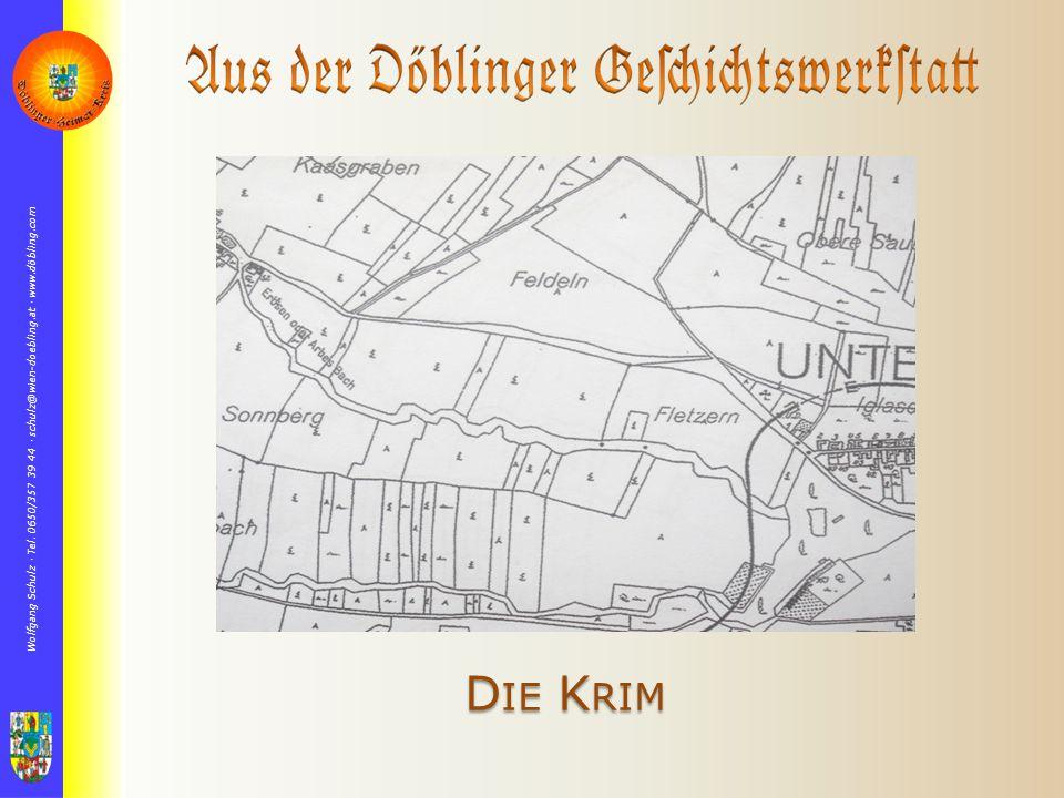 """Die Landkarte 1872 Die nunmehr in Unter Sievering und """"in der Krim auflebende Bautätigkeit führte im Jahre 1875 gemeinsam mit Ober Döbling zur Parzellierung und Einrichtung eines Straßennetzes."""