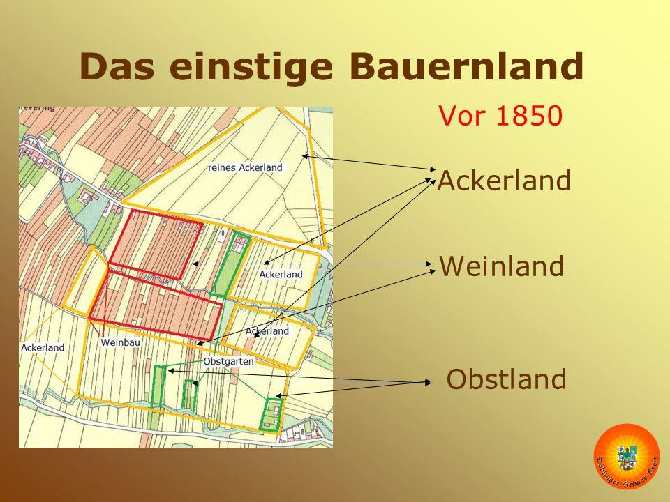 Das einstige Bauernland Vor 1850 Ackerland Weinland Obstland