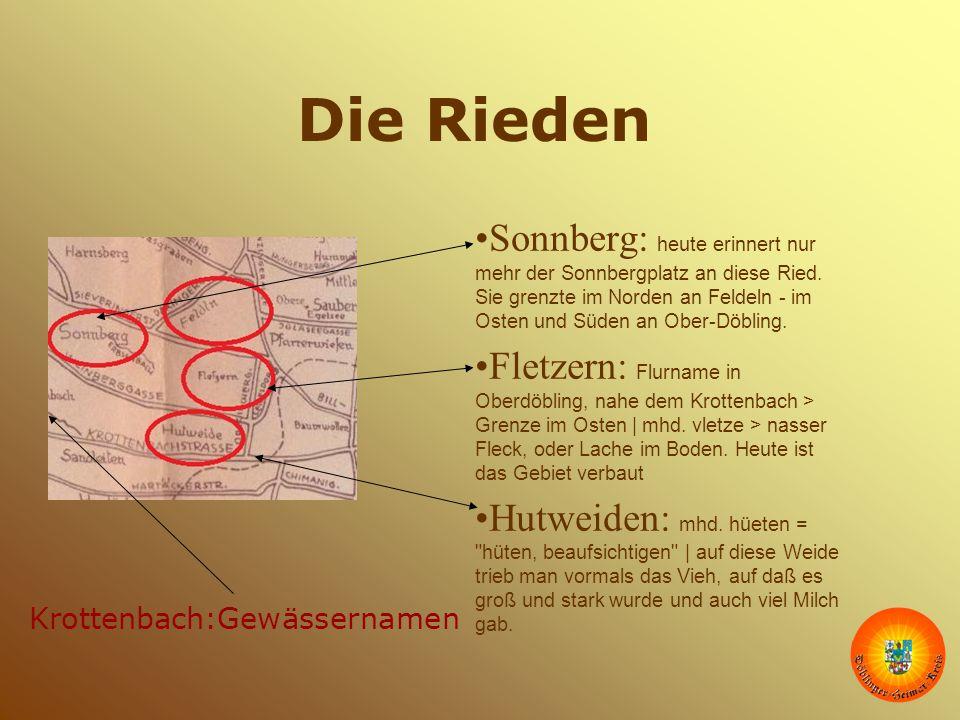 Die Rieden Sonnberg: heute erinnert nur mehr der Sonnbergplatz an diese Ried. Sie grenzte im Norden an Feldeln - im Osten und Süden an Ober-Döbling. F