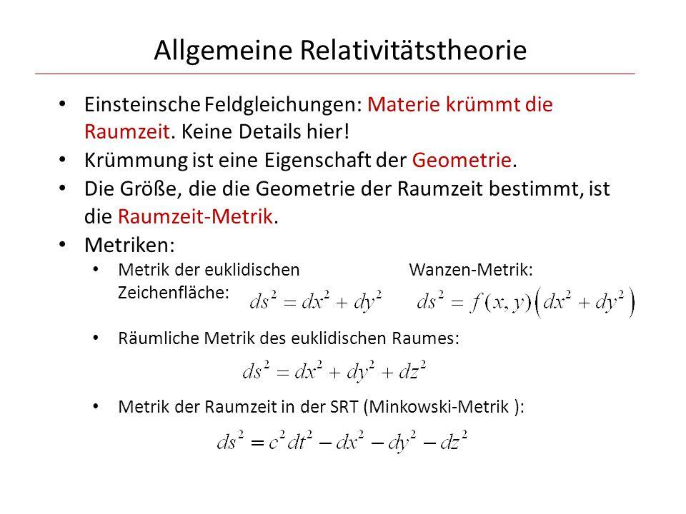 Allgemeine Relativitätstheorie Einsteinsche Feldgleichungen: Materie krümmt die Raumzeit.